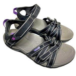 Teva Tirra Strappy Sandals Black Purple Size 6